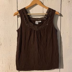 🌻 SALE 🌻 Duo Maternity Brown Lace Trim Tank